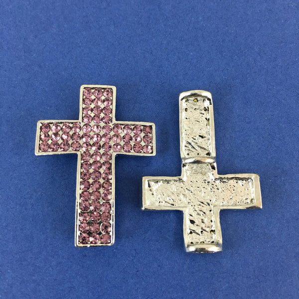 Alloy Connector, Purple Cross three Row Stones | Fashion Jewellery Outlet