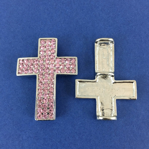 Alloy Connector, Pink Cross three Row Stones | Fashion Jewellery Outlet