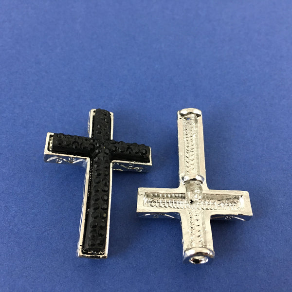 Alloy Connector, Black Cross Two Row Stone | Fashion Jewellery Outlet