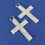 Alloy Charm, Two Row Rhinestone Silver Cross| Fashion Jewellery Outlet