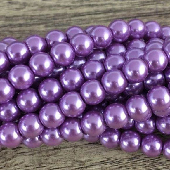 8mm Glass Pearl Bead, Purple | Fashion Jewellery Outlet