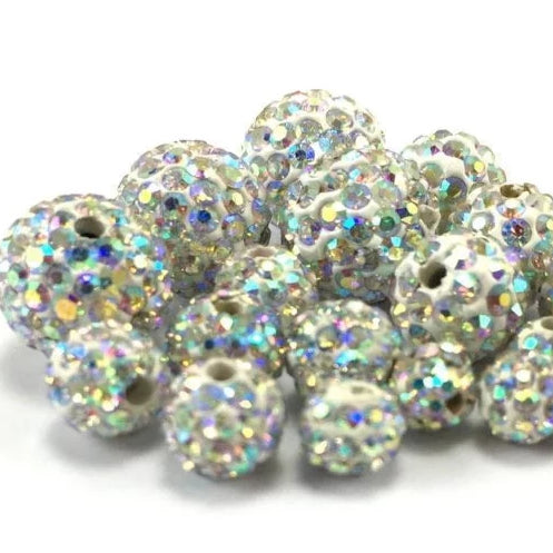 10mm Clear AB Shamballa Bead | Fashion Jewellery Outlet