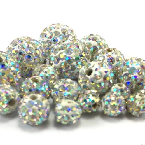 6mm Clear AB Shamballa Bead | Fashion Jewellery Outlet