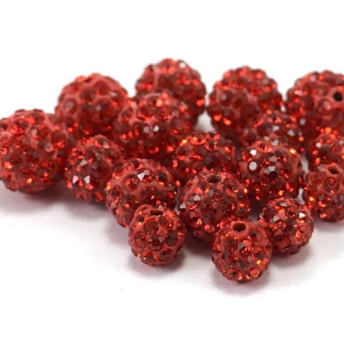 10mm Siam Red Shamballa Bead | Fashion Jewellery Outlet