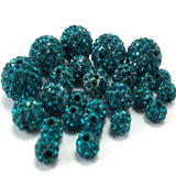 8mm Teal Blue Shamballa Bead | Fashion Jewellery Outlet