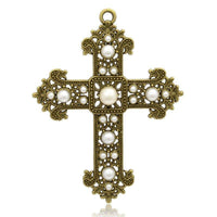 Alloy Cross Charm, Antique Bronze Pearl Cross | Fashion Jewellery Outlet