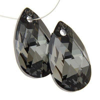 Silver Night Tear Drop Swarovski Charm | Fashion Jewellery Outlet