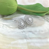 Tear Drop Studs, Bridal Cubic Zirconia Earrings, 18K Plated | Fashion Jewellery Outlet