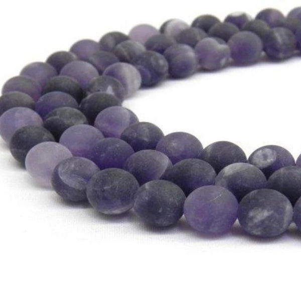6mm Frosted Amethyst Bead | Fashion Jewellery Outlet