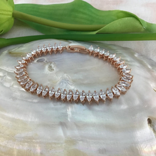 Cubic Zirconia Bracelet Marquise Shape, Rose Gold | Fashion Jewellery Outlet