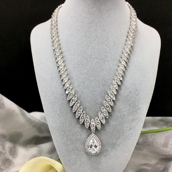 Bridal Tear Drop Necklace, Cubic Zirconia Necklace | Fashion Jewellery Outlet