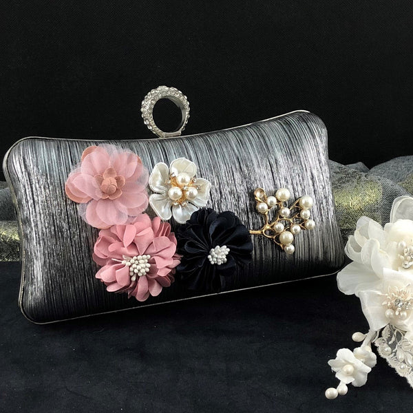 Black Wedding Flower Clutch | Fashion Jewellery Outlet