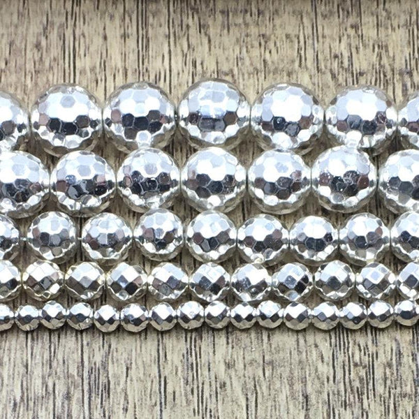 Silver Faceted Hematite Bead