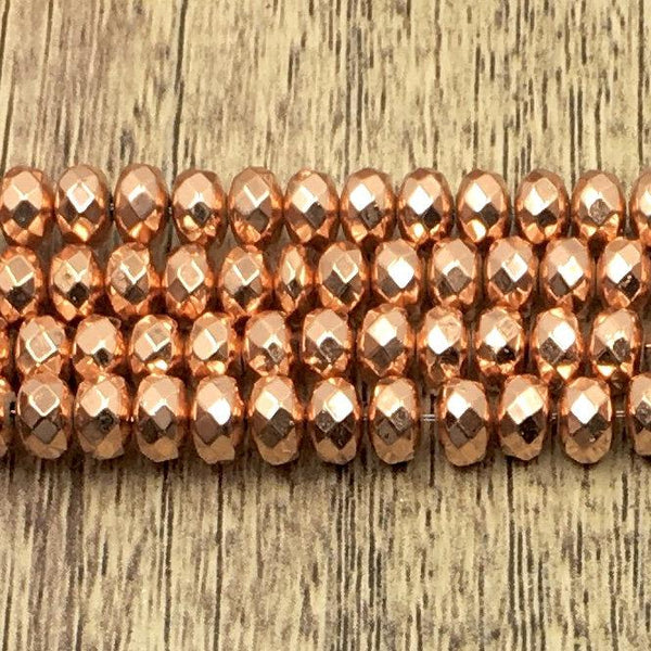 6mm Donut Shaped Rose Gold Faceted Hematite Bead