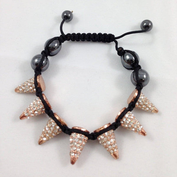 Spike Bracelet with Black Cord | Fashion Jewellery Outlet