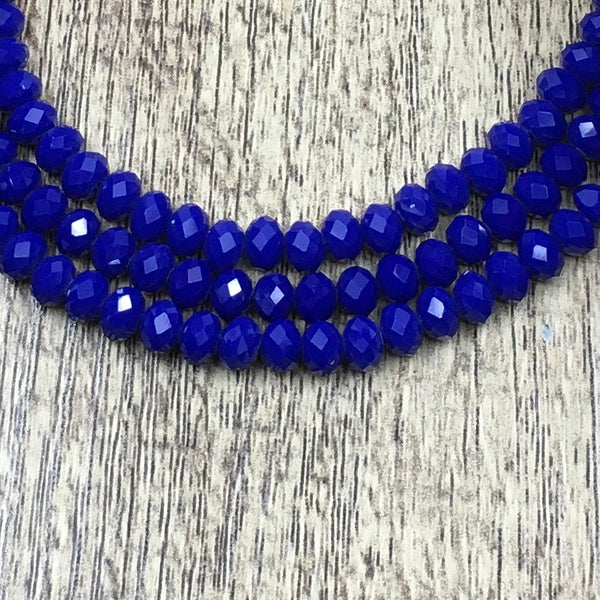 6mm Faceted Rondelle Glass Bead, Dark Opaque Blue
