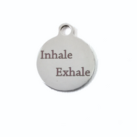 Inhale Exhale Engraved Charm Silver Color | Fashion Jewellery Outlet