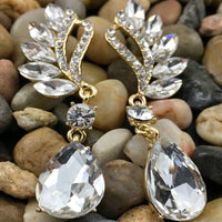 Crystal Marquise Teardrop Earrings, Gold | Fashion Jewellery Outlet