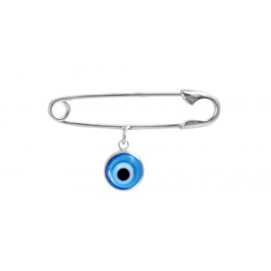 Sterling Silver Blue Evil Eye Safety Pin, Baby Pin | Fashion Jewellery Outlet