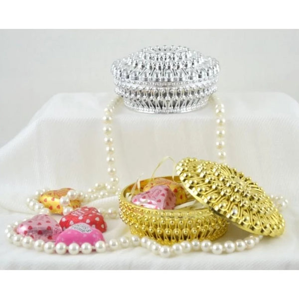 Round Gold Candy Box | Fashion Jewellery Outlet