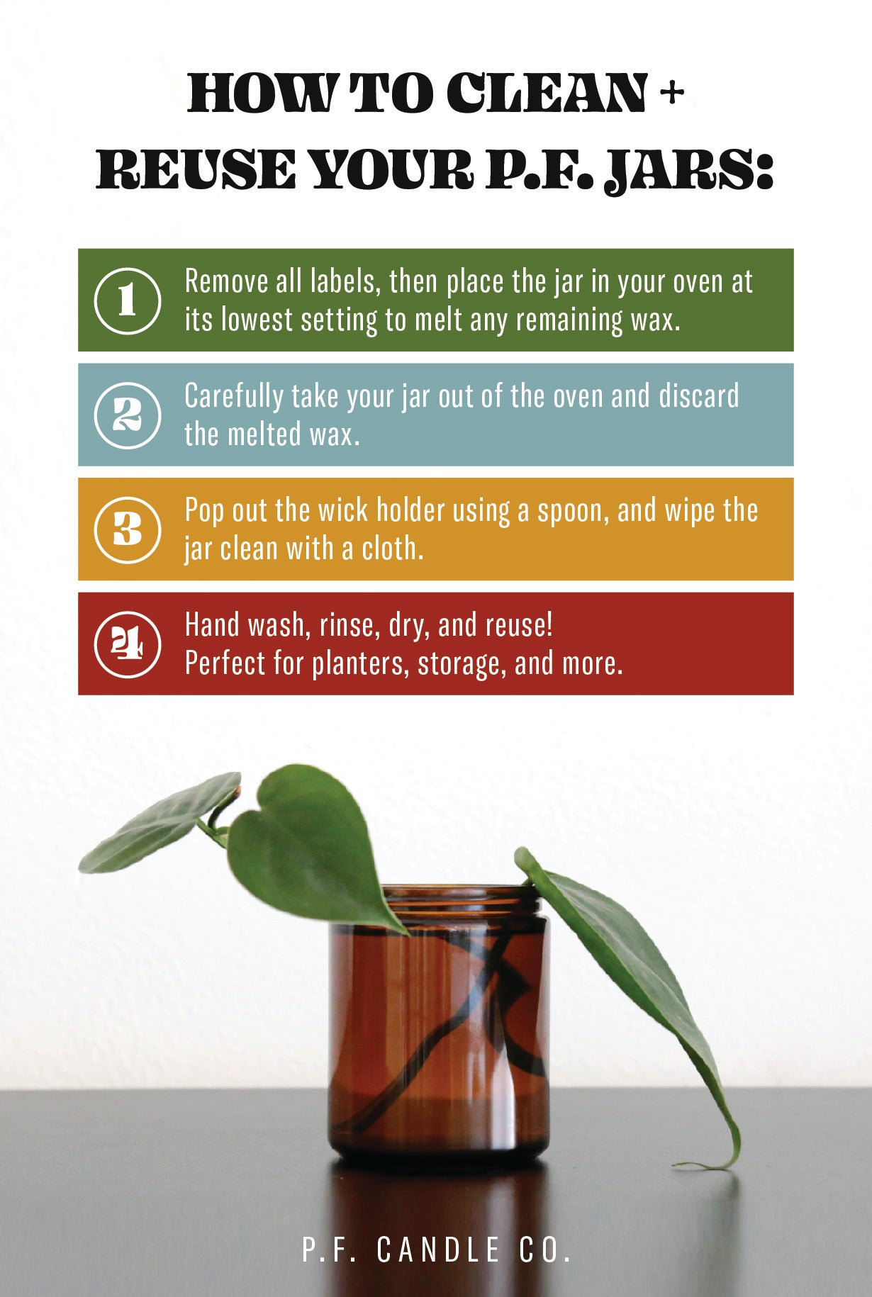 PF Candle Co How to Clean and reuse candle jars