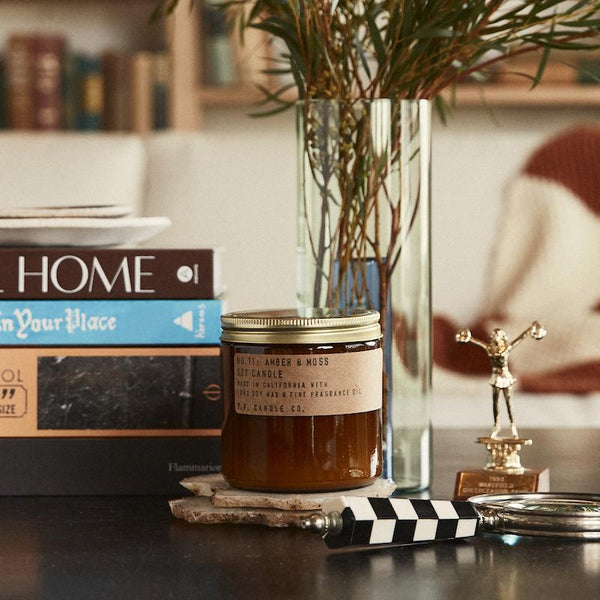 P.F. Candle Co. classic line Amber and Moss scented large soy wax candle with scent notes of sage, moss, and lavender