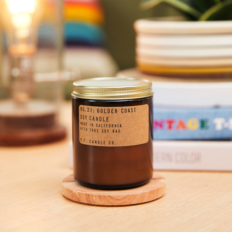 PF Candle Co Echo Park Golden Coast standard soy wax candle inspired by Big Sur magic, wild sage baking in the sun, the rumble of waves and rocks, with scent notes of eucalyptus, sea salt, redwood, and palo santo