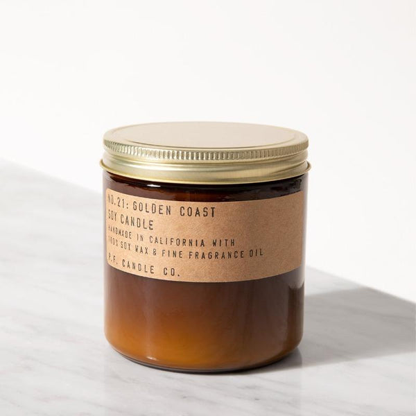 PF Candle Co Echo Park large soy wax candles are hand-poured into apothecary inspired amber jars with our signature kraft label and a brass lid