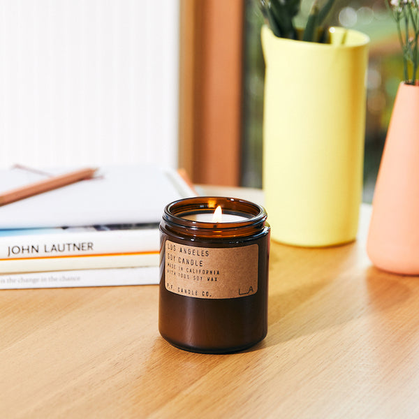 PF Candle Co Echo Park Los Angeles scented soy wax candle inspired by overgrown bougainvillea, canyon hiking, epic sunsets, city lights with scent notes of redwood, lime, jasmine, and yarrow