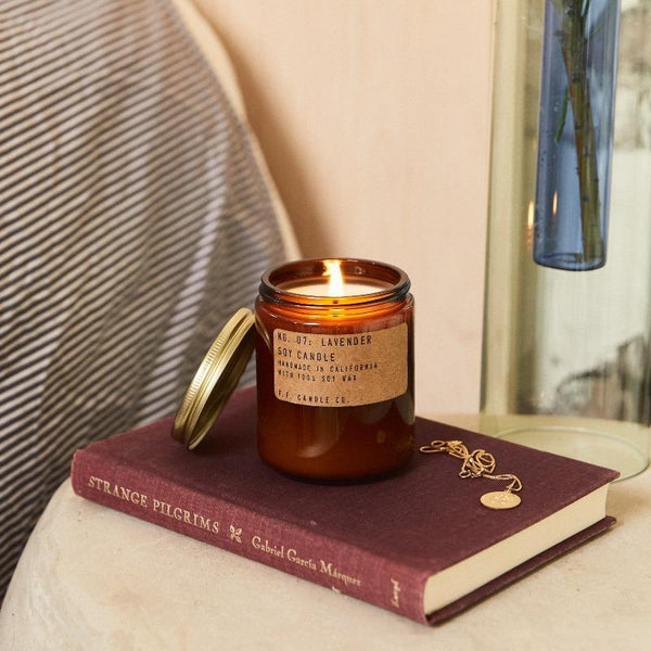 Lavender scented soy wax candle is aromatic, woody, and floral, with scent notes of bergamot, lavender, and cedar