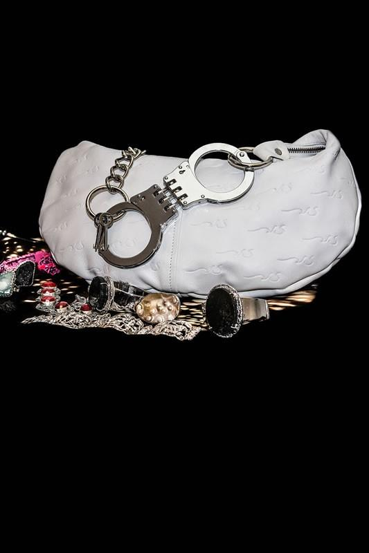 "BOUND Leather White Logo Bag With Metal Tone Chain And ""Handcuff"" Strap"