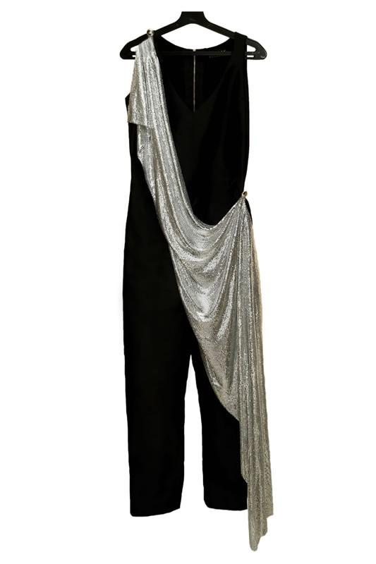 Black Jumpsuit with Silver Chainmail Drape