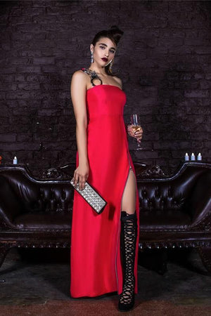 "BOUND Amore Silk Zippered Gown With ""Handcuff"" Strap"