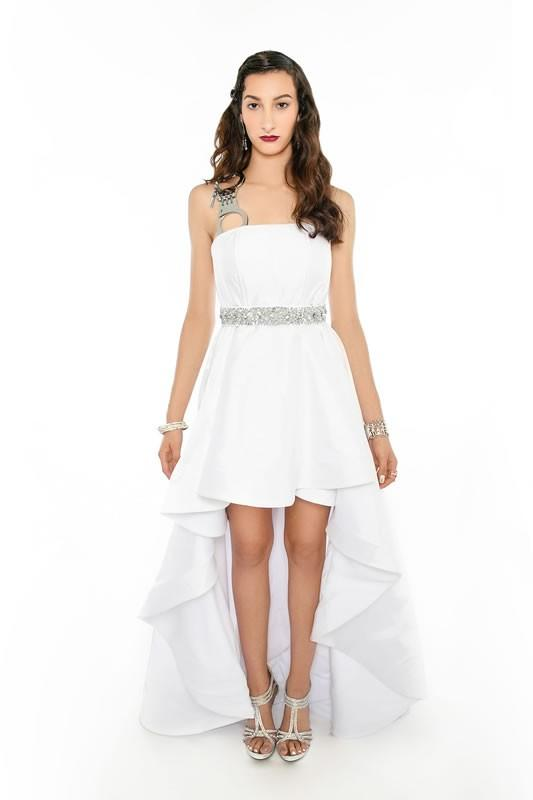 WHITE PARTY High Low Gown - Vertical HANDCUFF Strap - Sequins Belt