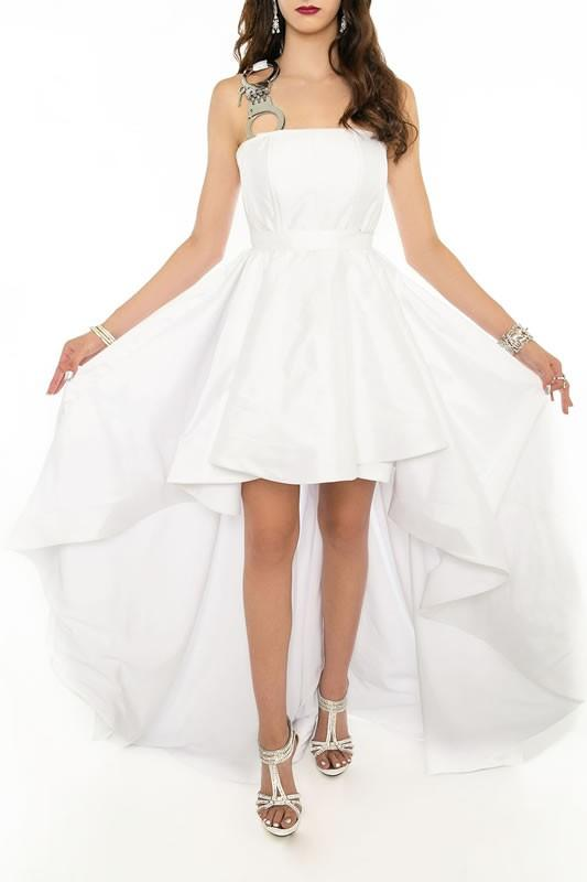 WHITE PARTY High Low Gown - Vertical HANDCUFF Strap