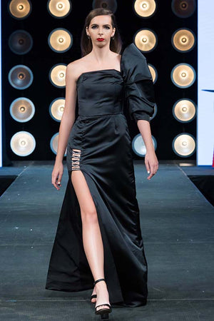 Load image into Gallery viewer, Black Mega Sleeve Satin Gown With Chain Details