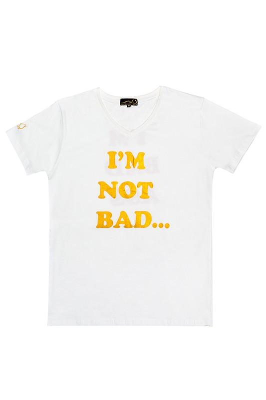 "'I'M NOT BAD...I'M BAD ASS"" T-Shirt, comfort fit, V-neck"