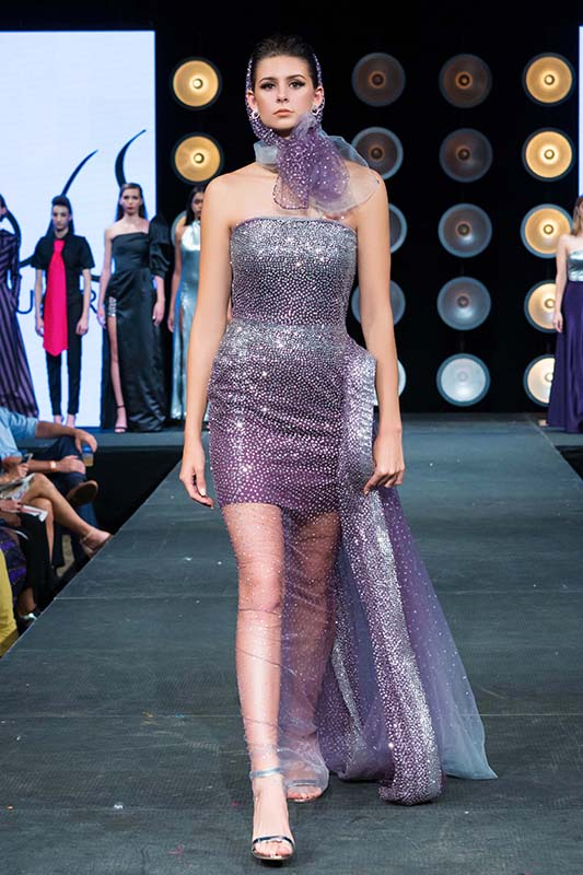 Lavender And Silver Ombre One Of A Kind Sequins Gown