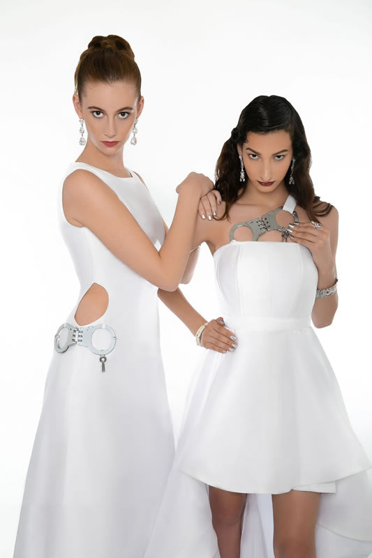 "WHITE PARTY High Low ""HANDCUFF"" Gown - Diagonal HANDCUFF Strap"