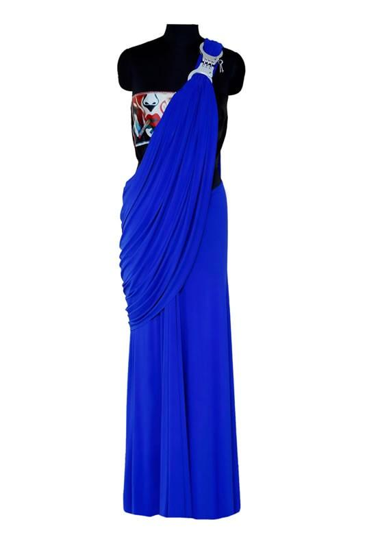 Load image into Gallery viewer, Blue Pre-Stitched Sari