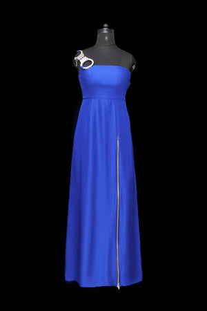 "Paradiso Silk Zipperd Gown With Versatile ""Handcuff"" Detail"
