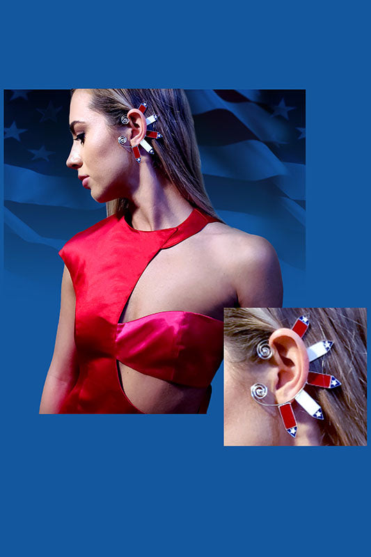 """PATRIOT"" US Flag Silver Ear Cuff"