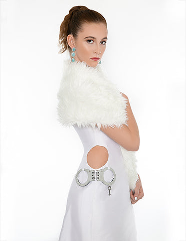 Signature Long Hip HANDCUFF Dress - White