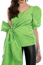 Luxe Corset Detail Top With Side Tie Up, Power Sleeve - Green