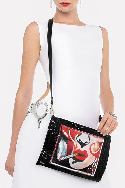 Sfumato Evening Sequins Leather Bag, Silver Hardware