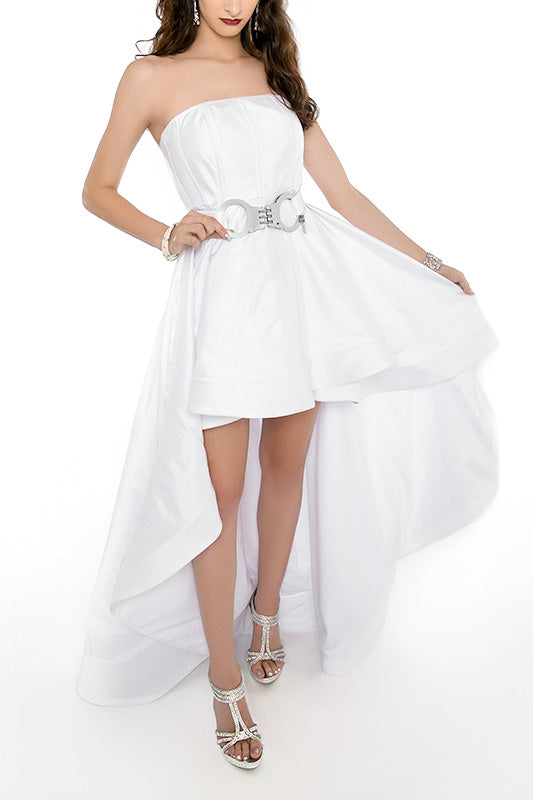 WHITE PARTY High Low Gown - HANDCUFF Belt