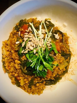 Lentil, coconut and sunflower dhal