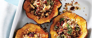 Acorn squash stuffed with quinoa, cranberries and walnuts