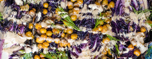 Roasted cabbage with crispy chickpeas and tahini sauce