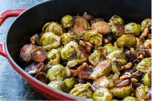 Roasted Brussels sprouts with balsamic vinegar and walnuts
